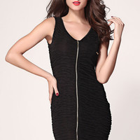 Black Sleeveless Ruched Dress with Full Front Zipper