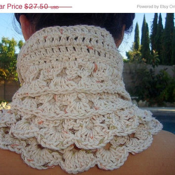 CIJ Sale - 10% off - Ruffled Crochet Cowl with Wood Buttons - Cotton - All Seasons - Gift for Her