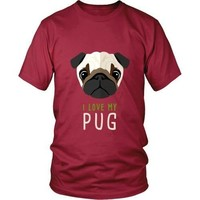 Dogs T Shirt - I love my Pug