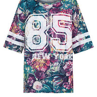 Cameo Rose Green Floral Print New York 85 Baseball T-Shirt