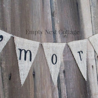 S'mores Bar Burlap Banner - S'mores Bar - Campout  Glamping  Sign  - Birthday Party - Backyard Decor, Rustic Wedding Deco,