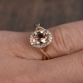 6x8mm Morganite Engagement ring Rose gold,Diamond wedding band,14k,Emerald Cut,Gemstone Promise Bridal Ring,Claw Prongs,Retro Vintage floral