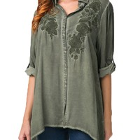 Andree by Unit Floral Embroidered Button Top Dark Olive