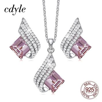 Cdyle Minimalist Dainty Pink Zircon Pendant Necklace Earrings Set Wedding Bridal Jewelry Sets for Women Silver 925 Flying Wings