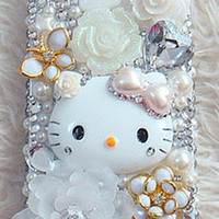 White Hello Kitty Deco iPhone Samsung Galaxy by AnnasPhoneCases