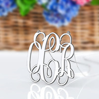 New monogrammed necklace -1 inch 925 sterling silver monogram necklace jewelry customized