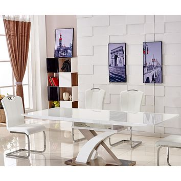 Expandable White High Glossy Metal Base Table and Chair