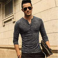 Men Henley Shirt Tee Tops Long Sleeve Stylish Slim Fit T-shirt Button Placket Casual Men Outwears Popular Design