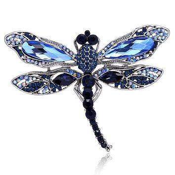 New Trending Insect Dragonfly Rhinestone Pin Badge Brooche For Women Men Fashion Jewelry Retro Boutonniere Pins FREE SHIPPING