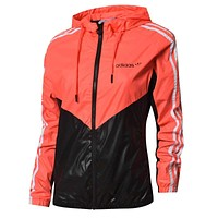 ADIDAS Popular Women Men Casual Print Hooded Cardigan Jacket Coat Windbreaker Sportswear Orange Red/Black