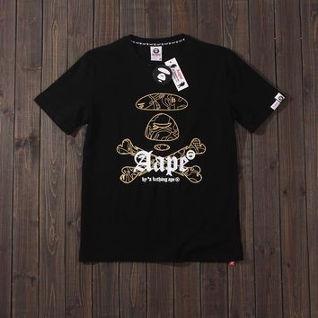 New Cartoon Ape Head Colour Short Sleeve Student Recreational Round-collar Lovers [2076771221558]