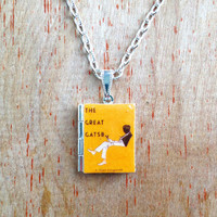 The Great Gatsby - F. Scott Fitzgerald - yellow cocktail cover - Literary Locket - Book Cover Locket Necklace