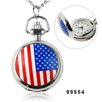 Fashionable Mini US National Flag Pattern Pocket Watch with Mirror Inside