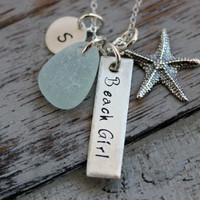 English Sea Glass Beach Girl Necklace, Personalized with Sterling Silver Starfish, Sea Glass and Initial Charm, Hand Stamped