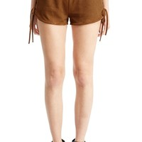 Women's Fashion Side Lace Up Faux Suede Brown Mini Shorts
