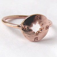 Hand stamped Compass Ring, Travel Ring in 18k Gold, silver and Rose Gold plated