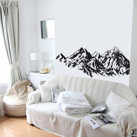 Wall Decal Vinyl Sticker Decals Art Decor Design Mountines Mountain Views Hill Side Nature Snow Bedroom Modern Living room (r284)