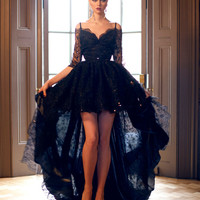 YJ38 Elegant Off the Shoulder Half Sleeve Black Lace High Low Prom Dresses 2015 Floor Length Evening Party Dresses