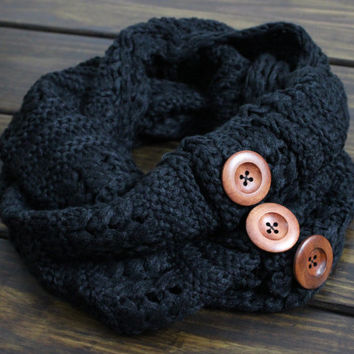 Cable Knit Infinity Scarf, Knitted Scarves, Winter Scarves, Women's Scarves, Button Scarf, Knitted Black Infinity Scarf, Chunky Knit Scarf
