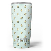 The Micro Daisy and Mint Polka Dot Pattern - Skin Decal Vinyl Wrap Kit compatible with the Yeti Rambler Cooler Tumbler Cups