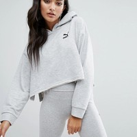 Puma Exclusive To ASOS Cropped Hoodie With Raw Hem And Side Splits at asos.com