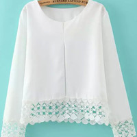 White Crochet Lace Accent Long Sleeve Cropped Blouse
