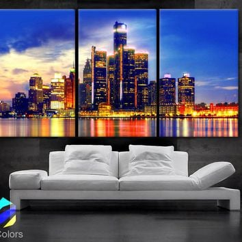 """LARGE 30""""x 60"""" 3 Panels Art Canvas Print beautiful Detroit Skyline Fullcolors Wall Home office decor  interior (Included framed 1.5"""" depth)"""