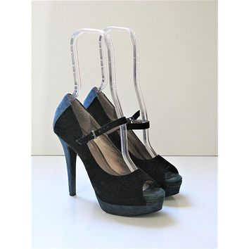 Suede Leather Two Tone Mary-Jane Platform Heels