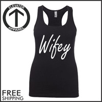 Wifey. Racerback Jersey. Womens Clothing. Exercise. Motivation. Fitted. Health And Wellness. Workout Tanks. Fitness Tanks. Gym. Crossfit.