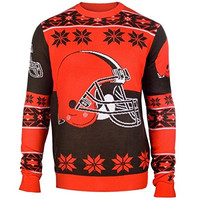 Cleveland Browns Forever Collectibles KLEW Big Logo Ugly Sweater Sizes S-XXL w/ Priority Shipping