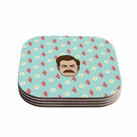 """Juan Paolo """"Give Me All Of The Bacon And Eggs"""" Parks & Recreation Coasters (Set of 4)"""