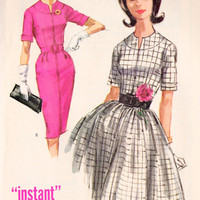 """1960s Misses Dress with Full or Slim Skirt Vintage Sewing Pattern, McCall's 6179 bust 34"""" uncut"""