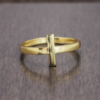 925 sterling silver gold vermeil plated sideways cross ring