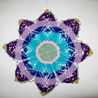 Eight Pointed Star Doily Table Mat Crochet Centerpiece Colored Star
