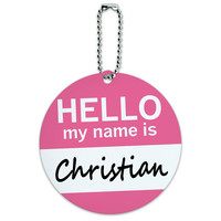 Christian Hello My Name Is Round ID Card Luggage Tag