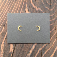 Tiny Crescent Moon Stud Earrings in Gold with Sterling Silver Posts