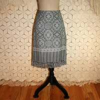 Tapestry Skirt Tribal Print Black + White Boho Fringe Skirt India Print Skirt Midi Skirt Women Skirts Fall Winter Medium Womens Clothing