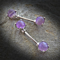 Amethyst Semi Precious Stone Nipple Barbell Prong Surgical Steel Nipple Bar Rings 14ga