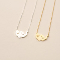 Tiny Dino Necklace, Dinosaur Necklace. Choose your color. dinosaur jewelry. Gold or Silver plated. DoubleBJewelry. Double B. DoubleB.