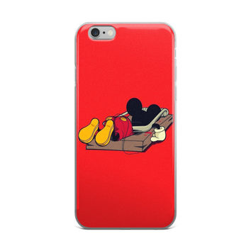 """""""Mouse Trap"""" Mickey Mouse Gets Trapped In A Mouse Trap Funny Red iPhone 4 4s 5 5s 6 6s 6 Plus 6s Plus 7 & 7 Plus Case"""