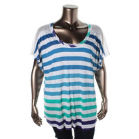 American Rag Womens Plus Lace Back Striped Pullover Top