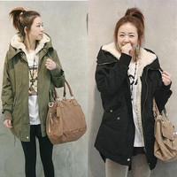 Women Thick Fleece Warm Winter Coat Zip Hooded Parka Overcoat Long Jacket