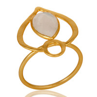 18K Gold Plated Sterling Silver Rainbow Moonstone Art Deco Statement Ring