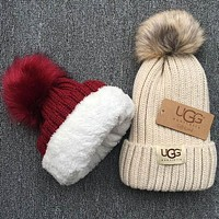 UGG autumn and winter tide brand plus velvet warm men and women hair ball cap