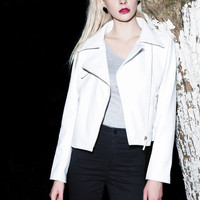 White Faux Leather Crop Moto Jacket with Gold Zippers