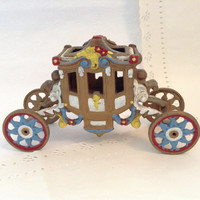 Cinderella Carriage -Vintage c1970s - cast iron - fairy tale coach - collectible - photo prop - display