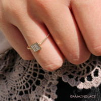 Have It Your Way Square Rhinestone Studded Ring