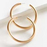 Brushed Large Hollow Hoop Earring | Urban Outfitters