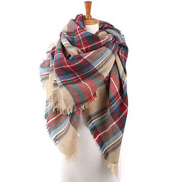 Best Seller Red and Green Blanket Scarf by KnitPopShop