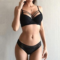 Underwear Set Sexy Bras Lace Embroidery Gather Women Lingerie Sets